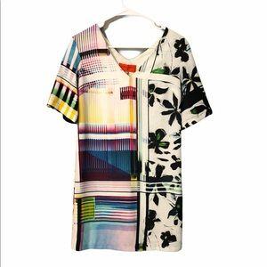 Canyon Clover Floral V Neck Shift Dress XS